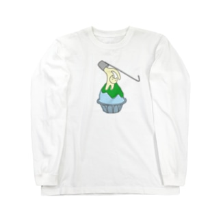 練乳ねこかき氷(メロン/抹茶) Long sleeve T-shirts