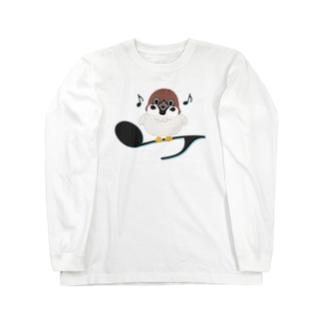 CT161 スズメがちゅんB*イラストサイズ大きいver. Long sleeve T-shirts