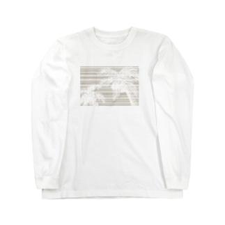 ヤシの木(ランダムストライプ) Long sleeve T-shirts