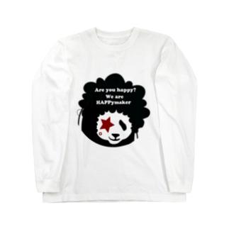 あっ!アフロパンダda!フェイスのみTシャツ Long sleeve T-shirts