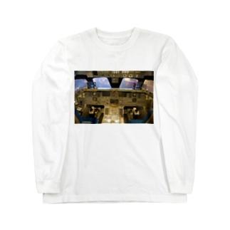スペースシャトル コクピット Long sleeve T-shirts