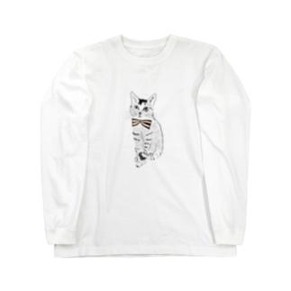 蝶ネクタイとネコ Long sleeve T-shirts