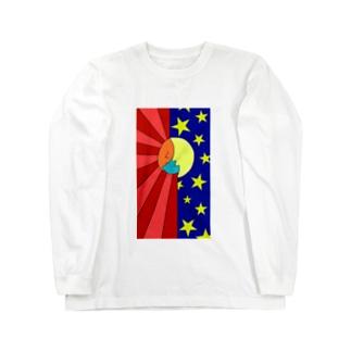 太陽と月ヘアーの地球ちゃん Long sleeve T-shirts