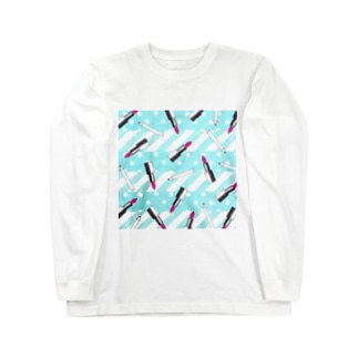 pattern-lipstics&pencils02 Long sleeve T-shirts