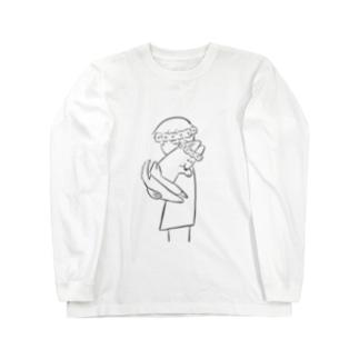 花冠と犬とハグ2 Long sleeve T-shirts