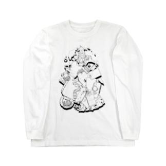 オウムの破壊活動モノクロ Long sleeve T-shirts