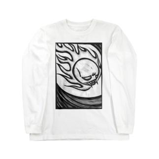 火の玉骸骨お化け Long sleeve T-shirts