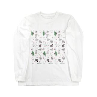 たっぷり文鳥ちゃん【まめるりはことり】 Long sleeve T-shirts