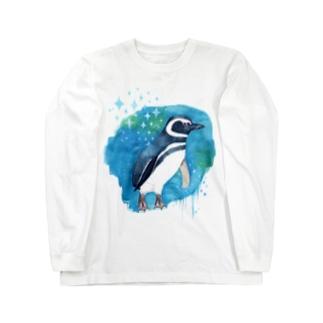 マゼランペンギンと青 Long Sleeve T-Shirt