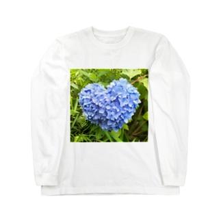 ハートの紫陽花 Long sleeve T-shirts