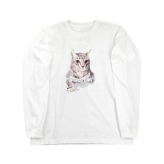 百合の筆のそんなにみつめないで!ドキドキしちゃうから♪かわいい猫のイラスト Long sleeve T-shirts