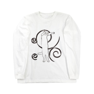 和風のび猫 Long sleeve T-shirts