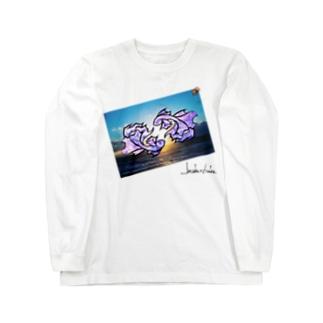 夏を泳ぐ魚 パープル Long Sleeve T-Shirt