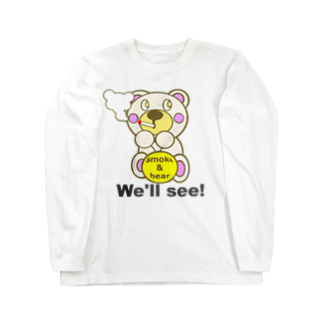 オリジナルデザインTシャツ SMOKIN'の一服モクモックマ  白 Long sleeve T-shirts