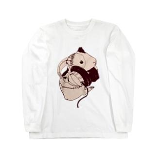 ヘッドフォンモルモットセピア Long sleeve T-shirts