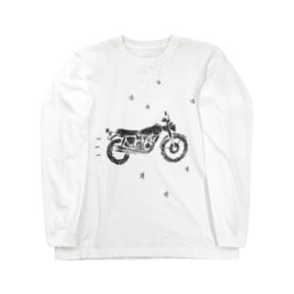 バイクで走り去る Long sleeve T-shirts