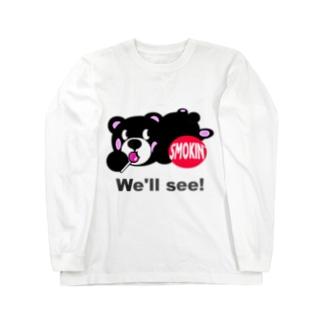 うつぶせモクモックマB 黒 Long sleeve T-shirts