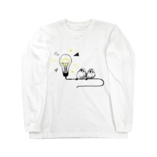 電球とスズメ Long sleeve T-shirts