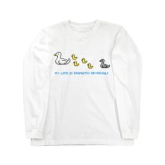 ドットあひるの親子 Long sleeve T-shirts