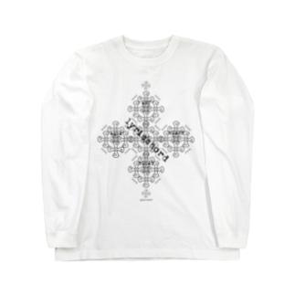 lyricchordクロス黒ライン/ドローイングアート Long sleeve T-shirts