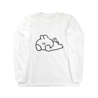 寝そべりうさちゃんハムちゃん Long sleeve T-shirts