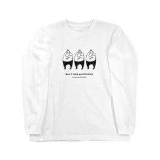 ねこタイツの疑いのまなざし ブラック Long Sleeve T-Shirt