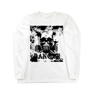 Danger‐モノクロ Long sleeve T-shirts