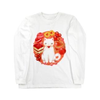 ニャンコと美味しい時間「スイーツ・RED」 Long sleeve T-shirts