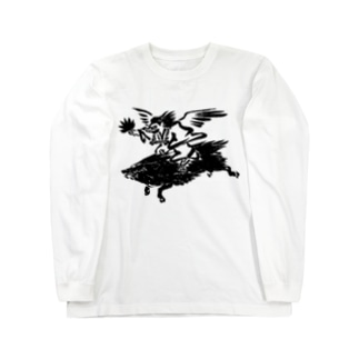 烏天狗 猪 亥年 Long sleeve T-shirts