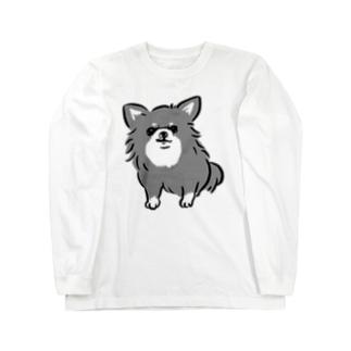 チワワ 警戒中 ブラックタン【せいこせんせい】 Long sleeve T-shirts
