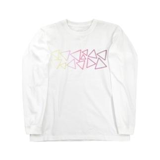 赤色のグラデーションの三角形 Long sleeve T-shirts