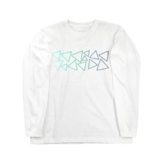 緑色のグラデーションの三角形 Long sleeve T-shirts