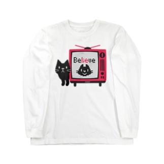 黒猫のテレビに出るにゃー*L配置 Long Sleeve T-Shirt