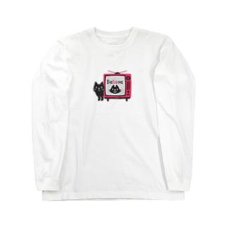 黒猫のテレビに出るにゃー*M配置 Long Sleeve T-Shirt