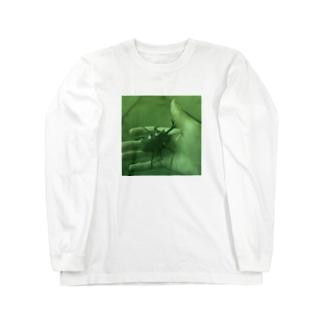 カブトムシを見つけた日(油絵風グリーン) Long sleeve T-shirts