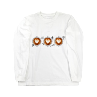 【Lady's sweet coffee】ラテアート メッセージハート / With accessories ~2杯目~ Long Sleeve T-Shirt