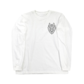 ウルフ/黒字 Long Sleeve T-Shirt