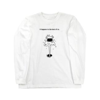 マンホールにネコ Long sleeve T-shirts