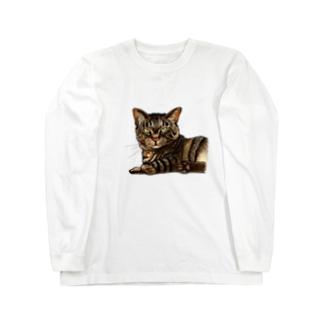 キジ柄の猫がこちらをみている Long Sleeve T-Shirt
