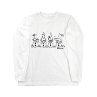 雪だるま/黒 Long Sleeve T-Shirt