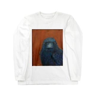 ガン見カラス Long sleeve T-shirts