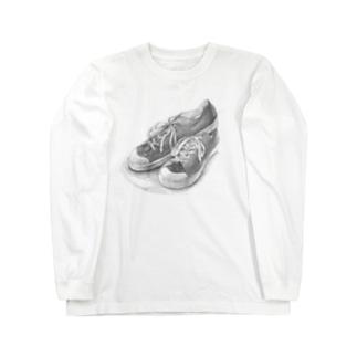 スニーカーのデッサン Long sleeve T-shirts