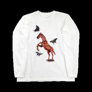 波田野剛望(はたのたけみ)の馬と蝶 Long sleeve T-shirts