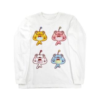 4ひきのカエルアンコウ Long sleeve T-shirts