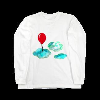 ねこのひげの赤い風船 Long sleeve T-shirts