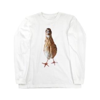 伸びるウズラ Long sleeve T-shirts