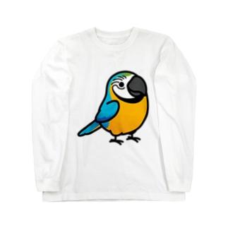 Chubby Bird ルリコンゴウインコ Long sleeve T-shirts
