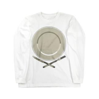 皿のドット絵 Long sleeve T-shirts