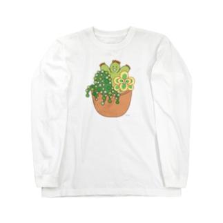 多肉植物たにくさん (テラコッタのプランターに集合) Long sleeve T-shirts
