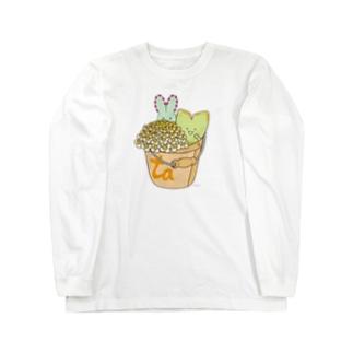多肉植物たにくさん (バケツに集合) Long sleeve T-shirts